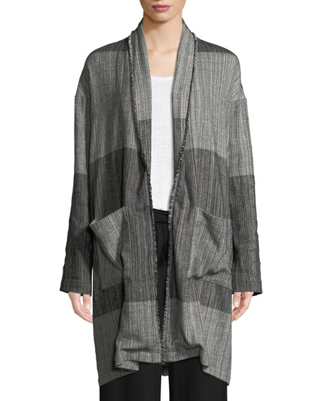 Organic Cotton Striped Long Cardigan Jacket, Plus Size