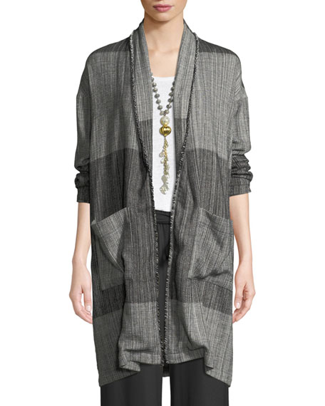 Eileen Fisher Organic Cotton Striped Long Cardigan Jacket,