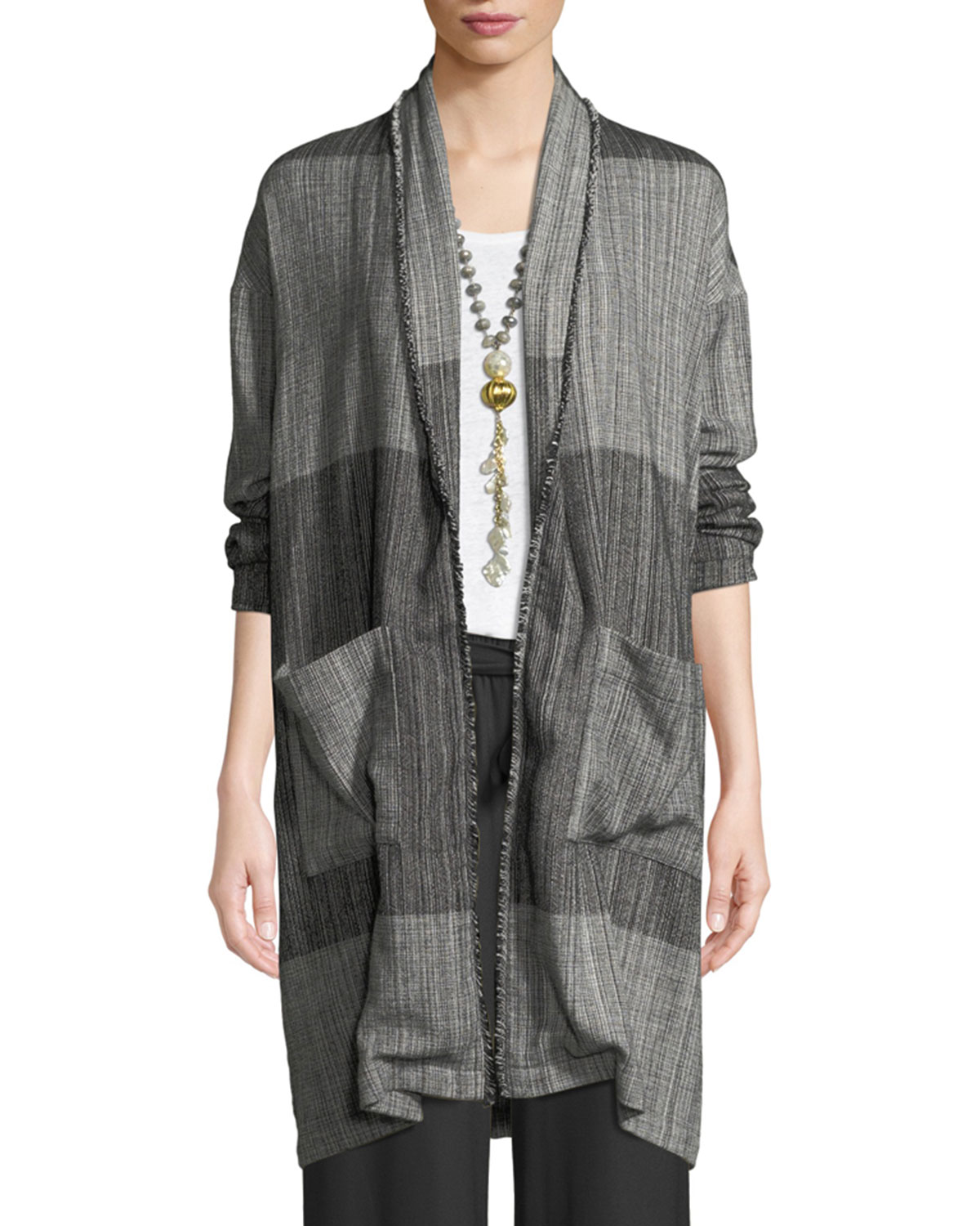 915da40093b Eileen Fisher Plus Size Organic Cotton Striped Long Cardigan Jacket ...