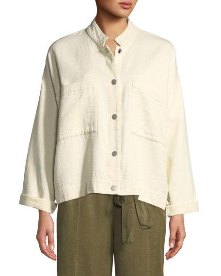 Plus Size Mandarin Collar Snap-Front Channel Jacket