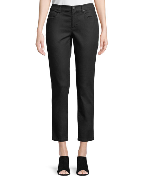 Coated Skinny Ankle Jeans, Black, Plus Size