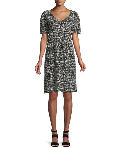 Printed Silk Drawstring-Waist Dress