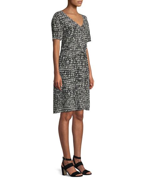 Printed Silk Drawstring-Waist Dress, Petite