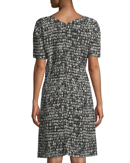 Printed Silk Drawstring-Waist Dress, Plus Size