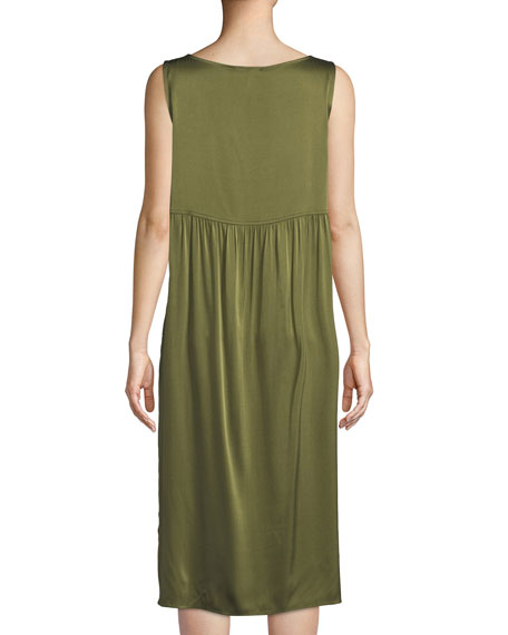 Bateau-Neck Silk Charmeuse Shift Dress
