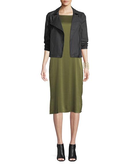 Bateau-Neck Silk Charmeuse Shift Dress