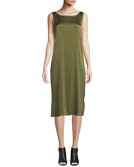 Eileen Fisher Bateau-Neck Silk Charmeuse Shift Dress