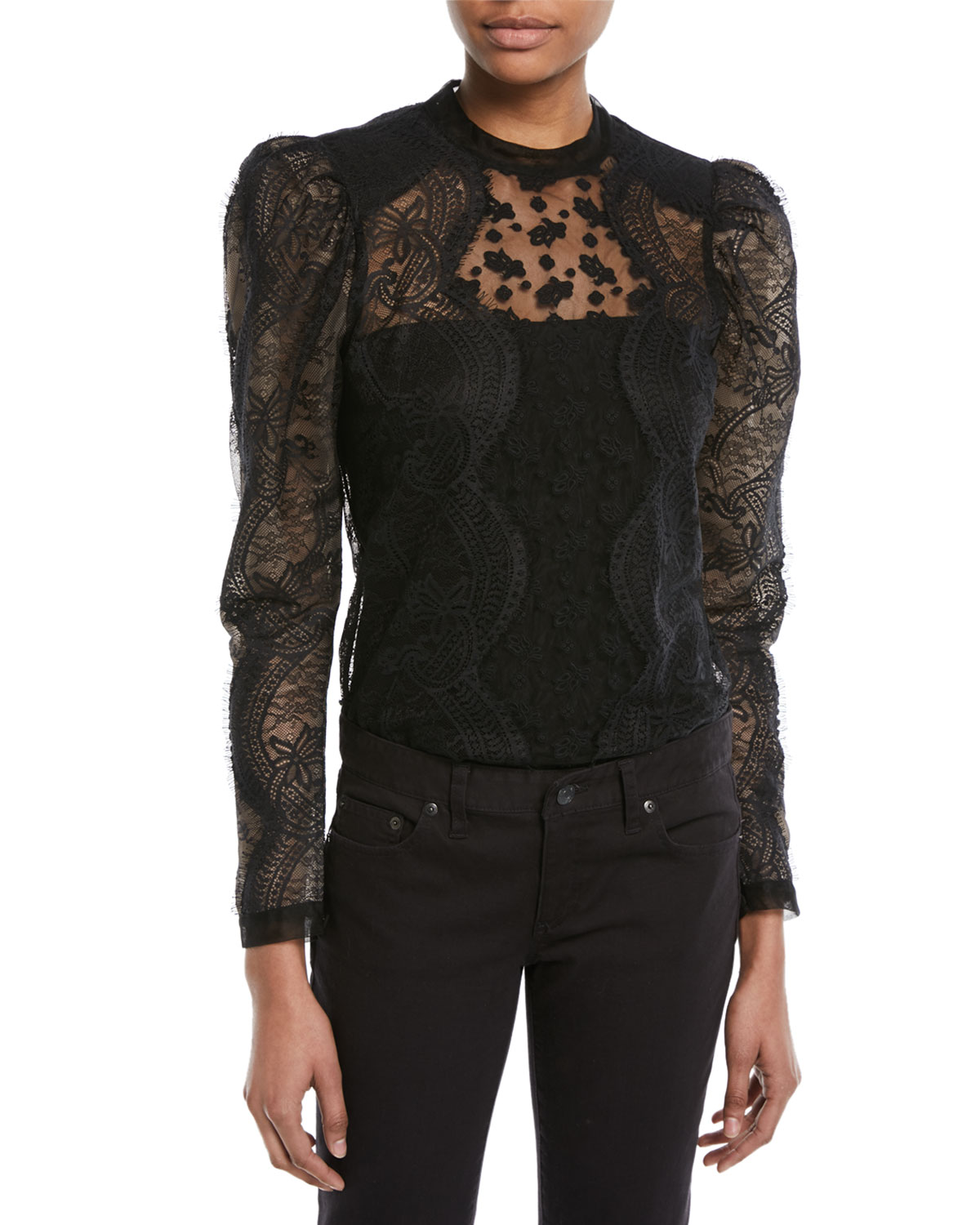 97c0954d7cd7 Self-Portrait Scalloped Floral Lace Puff-Sleeve Top | Neiman Marcus
