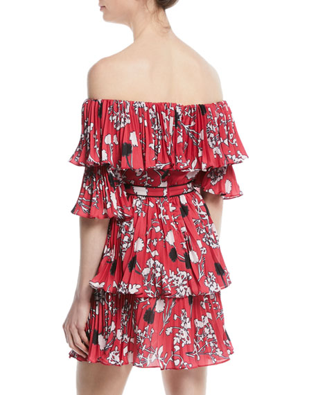 Pleated Off-the-Shoulder Floral-Print Mini Dress