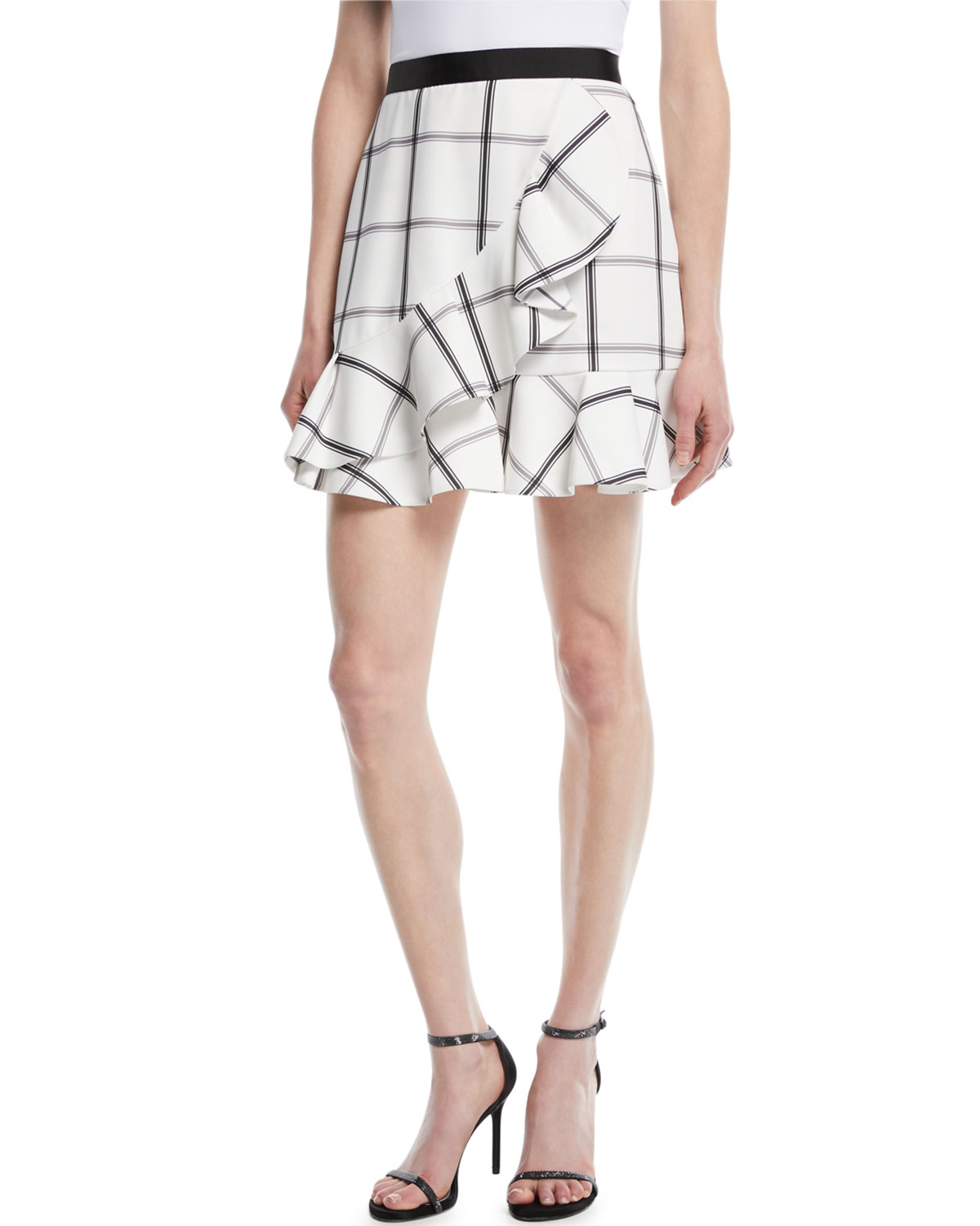 Monochrome Check Frill Skirt by Self Portrait