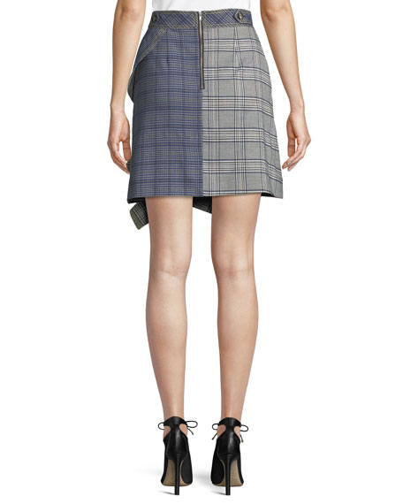 Check Flounce Mini Skirt
