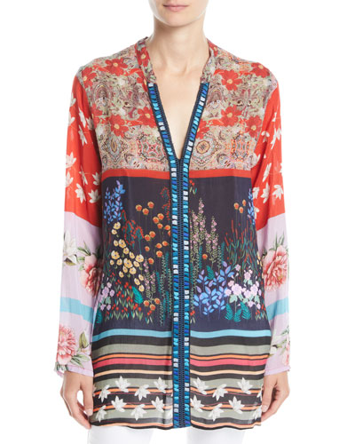 Paneled-Print Georgette Boyfriend Blouse, Plus Size