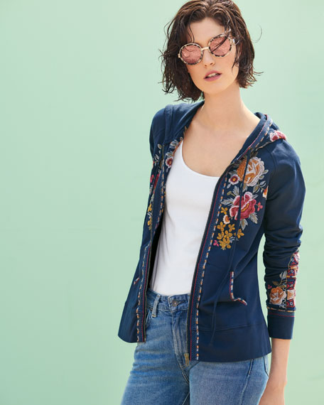 Cherelle Zip-Front Embroidered Hoodie