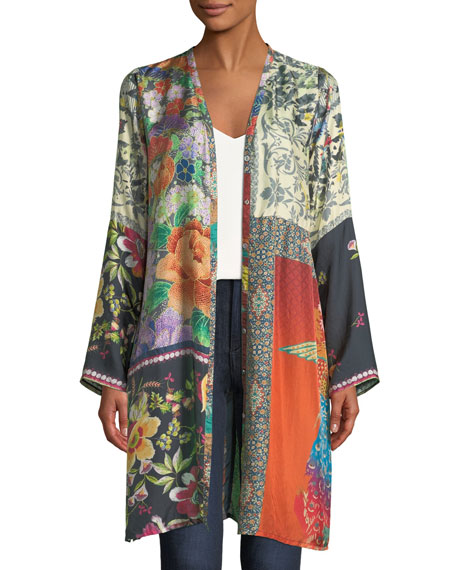 Plus Size Peadover Long Button-Front Silk Cardigan