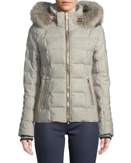 BOGNER Uma Down-Filled Coat W/ Removable Hood & Fur Trim in Gray