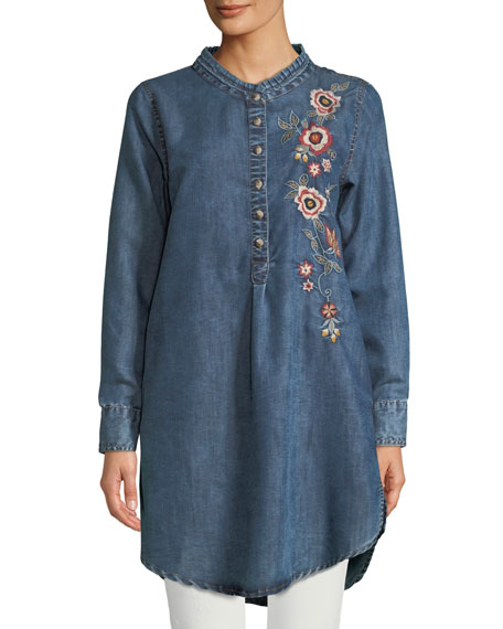 Madison Chambray Tunic Shirt w/ Floral Embroidery