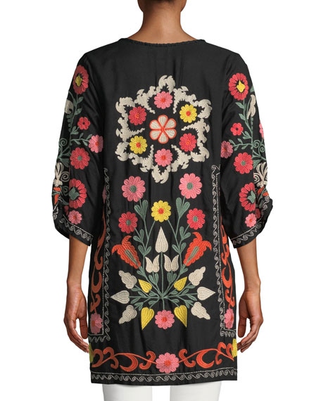 Plus Size Shira Folkloric Embroidered Tunic