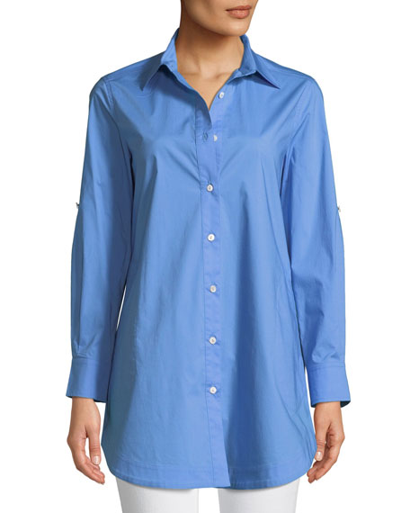 Misook Petite Stretch-Cotton Shirt with Painter's Pockets