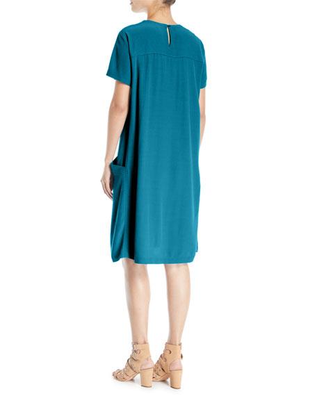 Tencel/Viscose Crepe Side-Pocket Shift Dress
