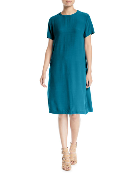 Eileen Fisher Tencel/Viscose Crepe Side-Pocket Shift Dress
