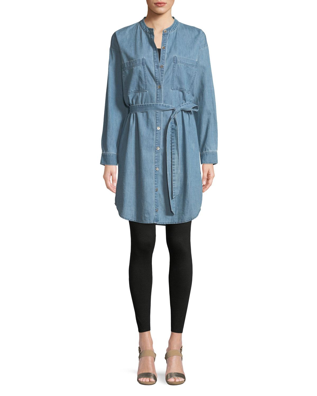 96546d1e6a9 Eileen Fisher Mandarin-Collar Denim Shirtdress