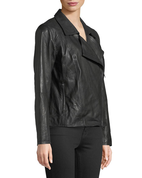 Rumpled Lux Leather Moto Jacket, Plus Size