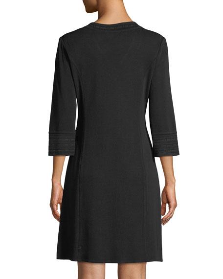Misook Petite 3/4-Sleeve V-Neck A-line Dress