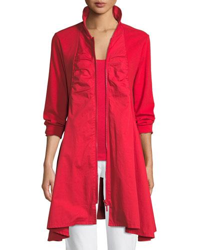 Long-Sleeve Zip-Front Stretch Interlock Jacket