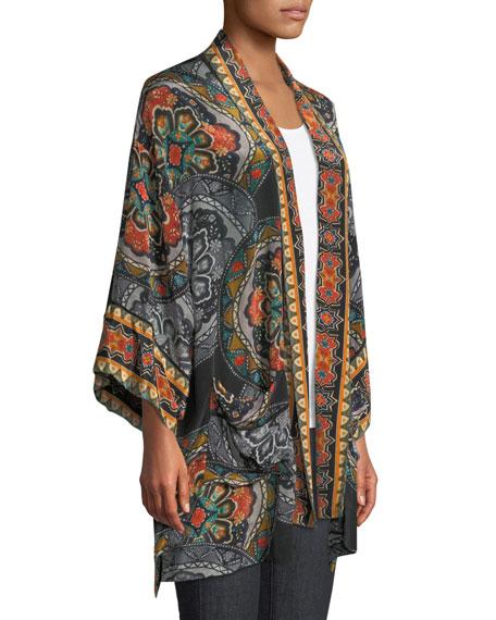 Kayla Medallion-Print Kimono Jacket w/ Pockets, Plus Size
