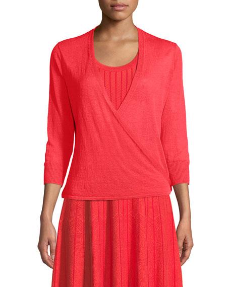 4-Way Linen-Blend Knit Cardigan Sweater, Petite