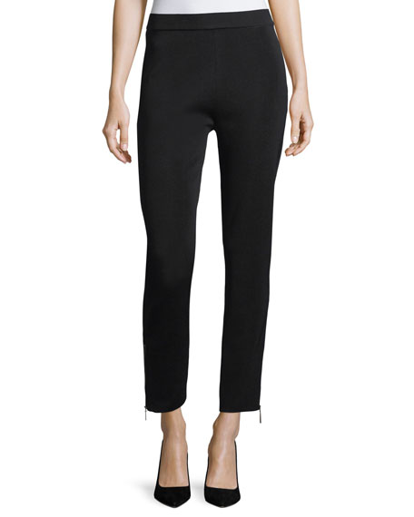 Knit Ankle-Zip Leggings, Petite
