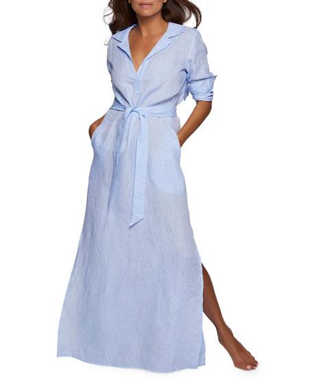 Pour Les Femmes Long-Sleeve Linen Long Lounge Shirt Dress