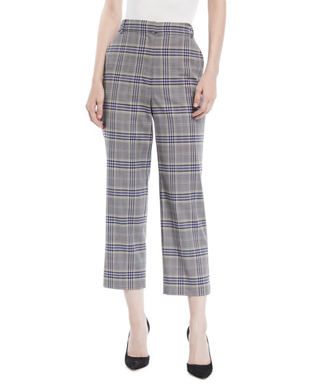 Tibi Taylor Lucas Suiting Plaid High-Rise Straight-Leg Pants
