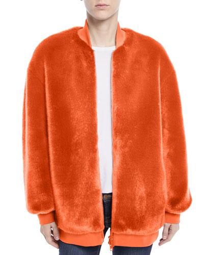 Luxe Faux-Fur Zip-Front Track Jacket