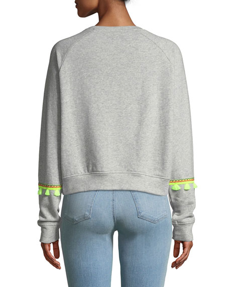 Devon Crewneck Top with Neon Brocade Trim