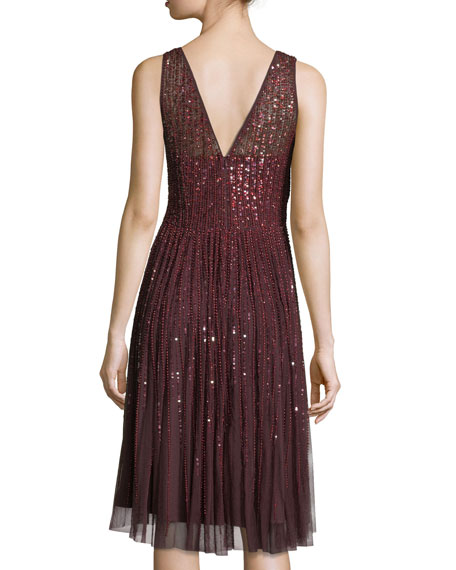 Sleeveless Embellished A-Line Cocktail Dress