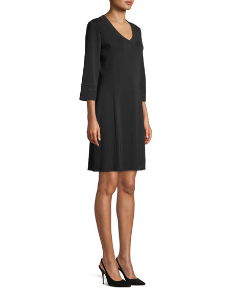 Misook 3/4-Sleeve V-Neck A-line Dress