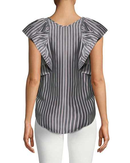 Striped Flutter-Sleeve Top