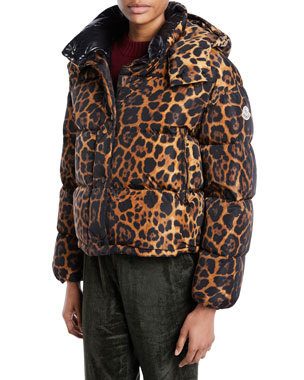988938cf69d5 Moncler Caille Animal-Print Puffer Coat w  Removable Hood