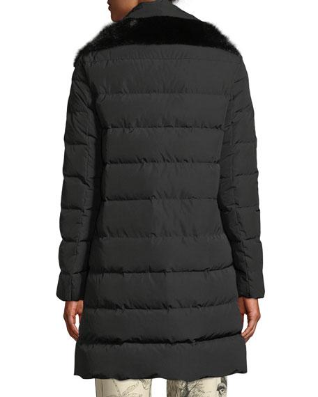 Lionette Long Puffer Coat w/ Fur Trim