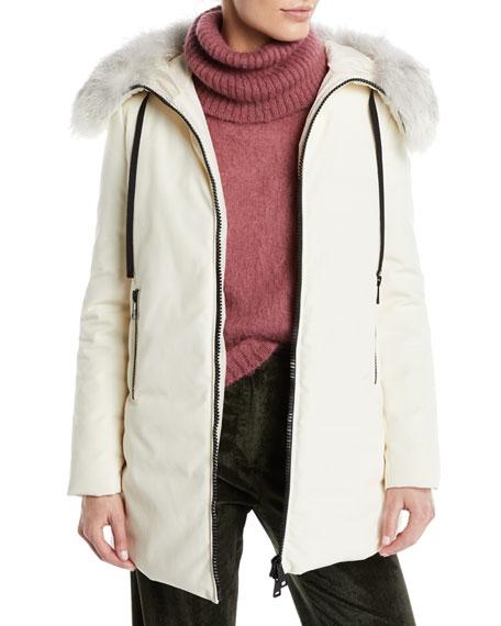 Bartamifur Parka Coat W/ Removable Fur-Trim Hood in White