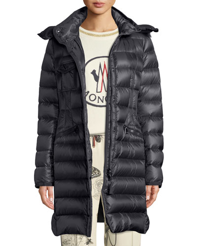 Hermifur Fitted Puffer Coat w/ Removable Fur Hood