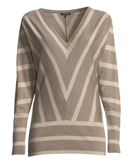 Striped Wool Dolman-Sleeve Sweater