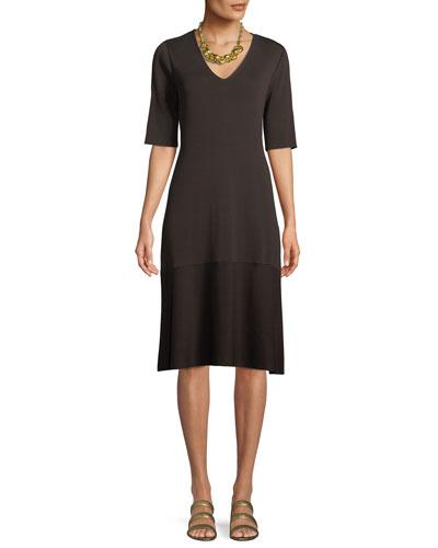 V-Neck Short-Sleeve Tencel® A-line Dress, Plus Size