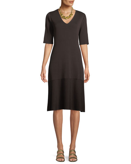 Eileen Fisher V-Neck Short-Sleeve Tencel?? A-line Dress, Plus