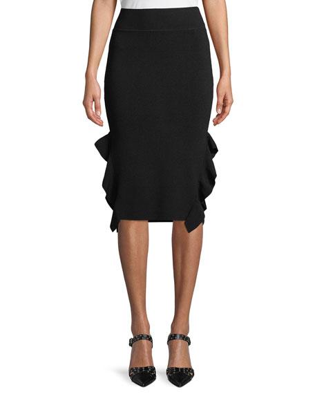 Knee-Length Flounce Pencil Skirt
