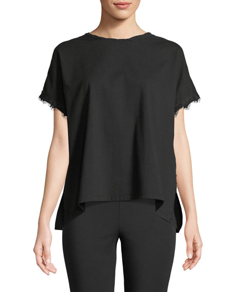 Hook-and-Eye Short-Sleeve Crewneck Top
