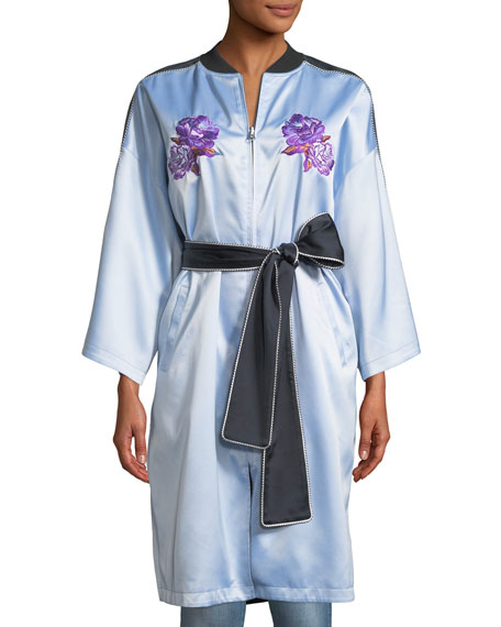Reversible Embroidered Zip-Front Kimono Jacket