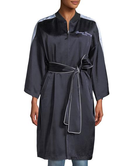 Reversible Embroidered Zip-Front Kimono Jacket
