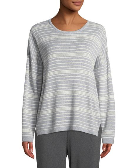 Long-Sleeve Striped Sweater, Petite